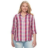 Juniors' Plus Size SO® Plaid High-Low Shirt
