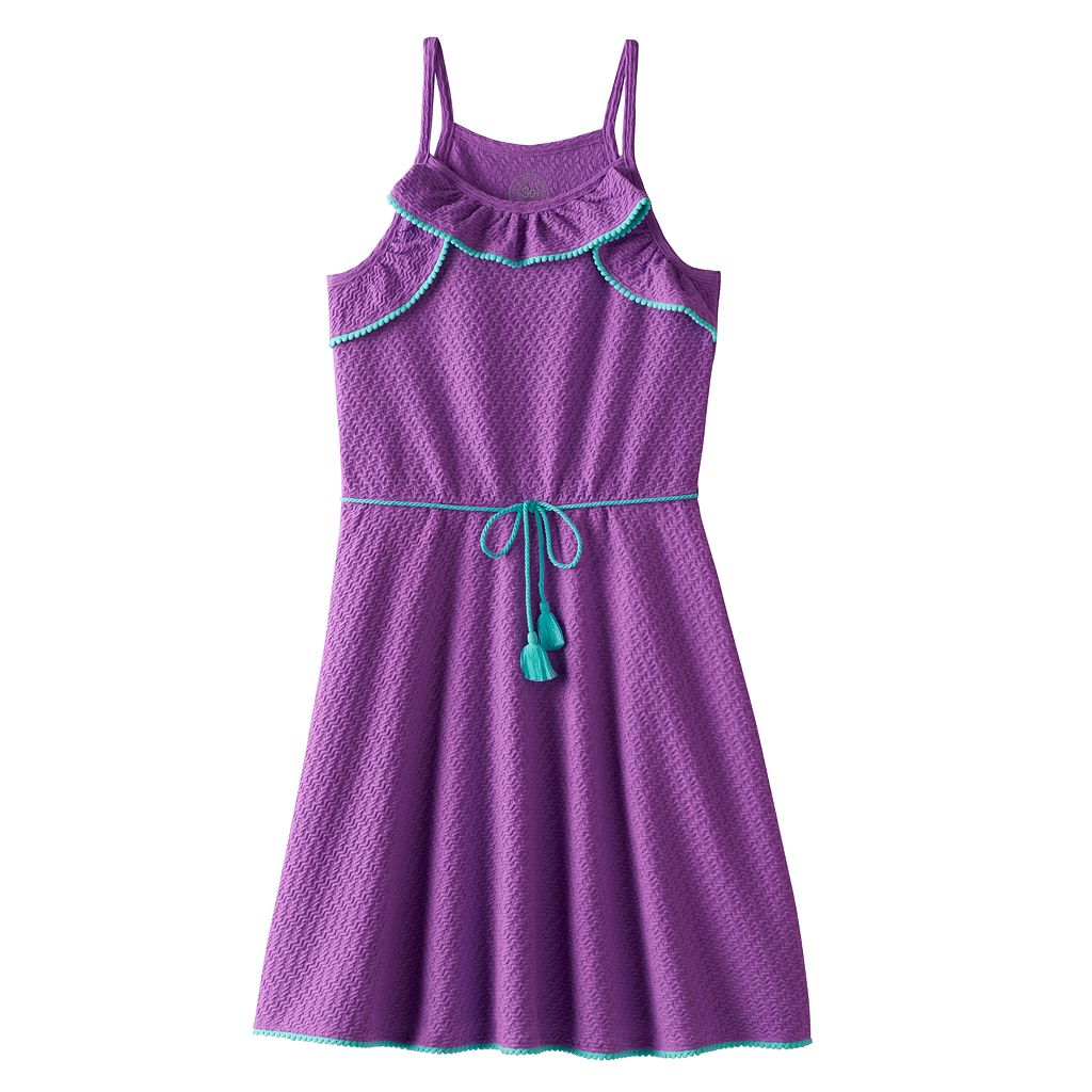 Girls Plus Size SO® Textured Ruffle Dress