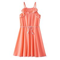 Girls Plus Size SO® Textured Ruffle Dress