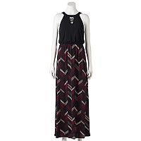 Juniors' Trixxi Chevron Cross Front Maxi Dress