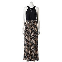 Juniors' Trixxi Chevron Cross Front Maxi Dress