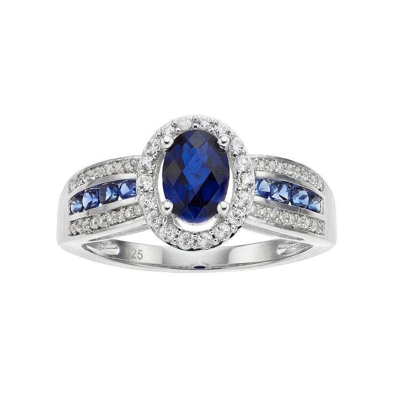 Sterling Silver Lab-Created Blue & White Sapphire Oval Halo Ring. Women's. Size: 7