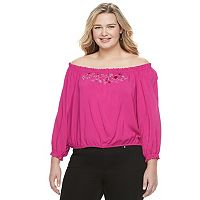 Juniors' Plus Size Candie's® Smocked Off-the-Shoulder Top