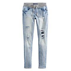 Girls 7-16 Vanilla Star Lurex Ribbed Waist Destructed Jeans