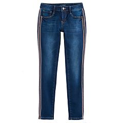 Girls 7-16 Vanilla Star Velvet Side Stripe Skinny Jeans
