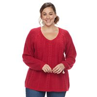 Plus Size SONOMA Goods for Life™ Cable-Knit Sweater