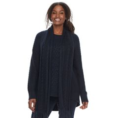 Plus Size SONOMA Goods for Life™ Crewneck Cable-Knit Scarf & Sweater