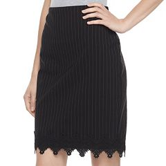 Juniors Joe B Pinstripe Lace Hem Pencil Skirt