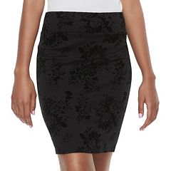 Juniors' Joe B Flocked Ponte Pencil Skirt