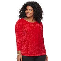 Plus Size Cathy Daniels Embossed Velour Top