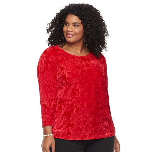 Plus Size Cathy Daniels Embossed Velour Top