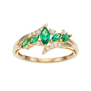 14k Gold Over Silver Lab-Created Emerald & White Sapphire Marquise Ring