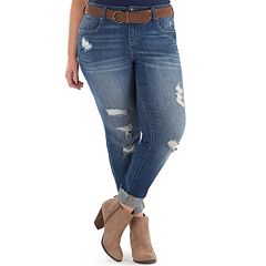 Juniors' Plus Size Amethyst Belted Ripped Girlfriend Skinny Jeans