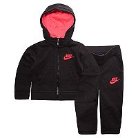 Baby Girl Nike Hooded Cardigan & Pants Fleece Set