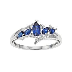 Sterling Silver Lab-Created Blue & White Sapphire Marquise Ring