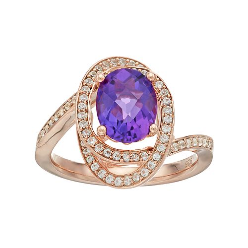10k Rose Gold Over Silver Amethyst & Lab-Created White Sapphire Oval Twist Ring