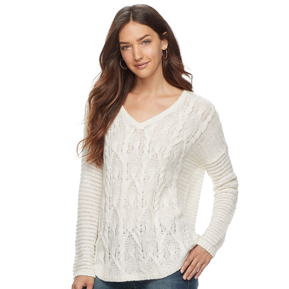 SONOMA Goods for Life™ Cable Knit V-Neck Sweater