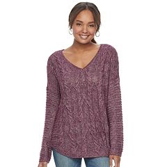 Women's SONOMA Goods for Life™ Cable Knit V-Neck Sweater