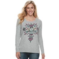 Women's SONOMA Goods For Life™ Floral Embroidery Scoopneck Sweater