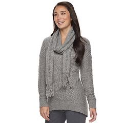 Women's SONOMA Goods for Life™ Cable Knit Crewneck Sweater & Scarf
