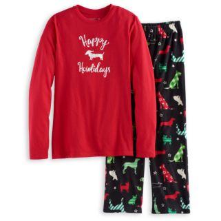 Boys 4-20 Jammies For Your Families Holiday Dog Top & Fleece Bottoms Pajama Set