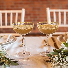 Cathy's Concepts Love 2 pc Gold Rim Coupe Flute Set