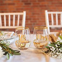 Cathy's Concepts 2 pc Mr. & Mrs. Gold Rim Stemless Wine Glass Set