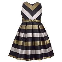 Girls 7-16 & Plus Size Bonnie Jean Metallic Chevron Striped Taffeta Dress