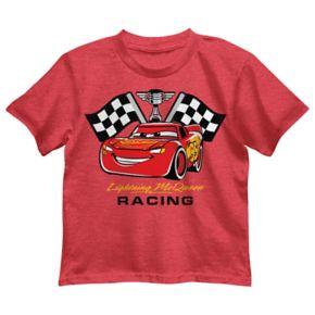 "Disney / Pixar Cars Boys 4-7 ""Lightning McQueen Racing"" Flags Graphic Tee"