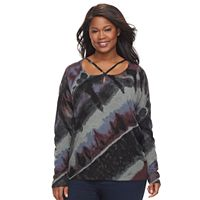 Plus Size Rock & Republic® Strappy Tie Dye Sweater