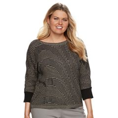 Plus Size Dana Buchman Wave Boatneck Sweater