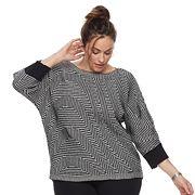 Plus Size Dana Buchman Wave Boatneck Sweater
