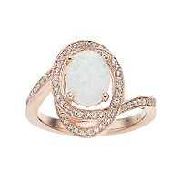 14k Rose Gold Over Silver Lab-Created White Opal & White Sapphire Oval Twist Ring