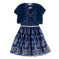 Girls 7-16 & Plus Size Knitworks Faux-Fur Bolero & Belted Glitter Skater Dress with Necklace