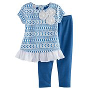 Girls 4-6x Marmellata Classics Textured Floral Tunic & Leggings Set