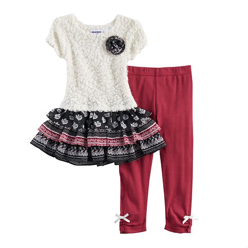 Toddler Girl Blueberi Boulevard Ruffled Tiered Skirt Sweater Dress & Bow Leggings Set
