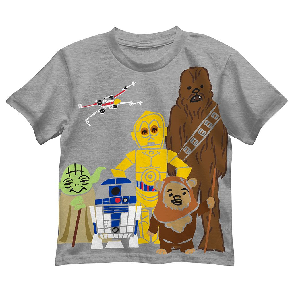 Boys 4-7 Star Wars Chewbacca, D3PO, R2D2 & Yoda Graphic Tee