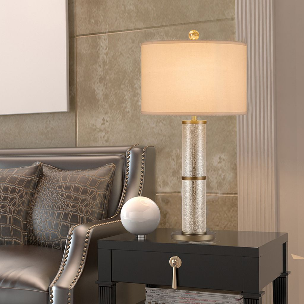 Catalina Lighting Speckled Glass Cylinder Table Lamp