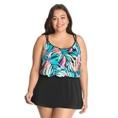 Plus Size Great Lengths Tummy Slimmer Blouson Swimdress