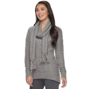 Petite SONOMA Goods for Life™ Cable-Knit Scarf & Sweater