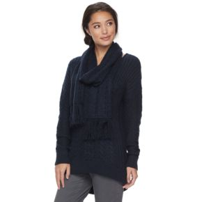 Petite SONOMA Goods for Life? Cable-Knit Scarf & Sweater