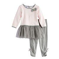 Toddler Girl Blueberi Boulevard Glitter Tutu Skirt Textured Top & Bow Leggings Set