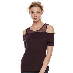 Women's Rock & Republic® Mesh Cold-Shoulder Tee