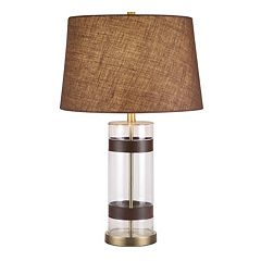 Catalina Lighting Faux-Leather & Glass Table Lamp