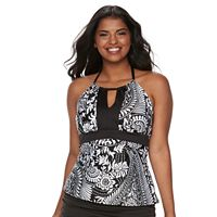 Plus Size Apt. 9® Paisley High-Neck Halterkini Top