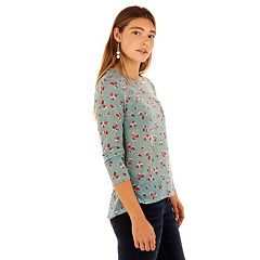 Juniors' Wallflower Velour Pocket Graphic Tee