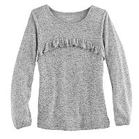Girls 4-12 SONOMA Goods for Life™ Curved Ruffle Marled Top