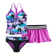 Girls 7-16 ZeroXposur Palm Print  3 pc Tankini Set