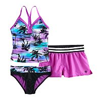 Girls 7-16 ZeroXposur Palm Print 3-pc. Tankini Set