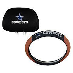 Dallas Cowboys Steering Wheel & Head Rest Cover Set